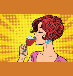 Woman drinking red wine vector
