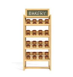 Wooden baking rack in store vector