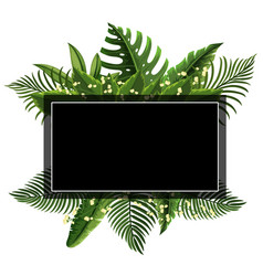 border template with leaves and flowers vector image vector image