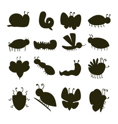 colorful insects silhouette icons isolated vector image vector image