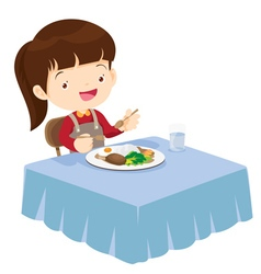 Cute Girl eating so happy and delicious vector image