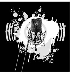 graffiti black and white microphone vector image vector image