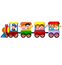 Happy kids on a colorful train vector image vector image