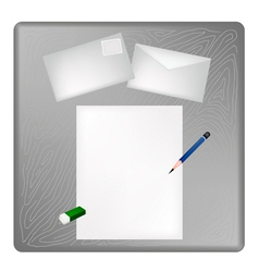 A Pencil and Eraser on A Blank Page and Envelope vector image vector image