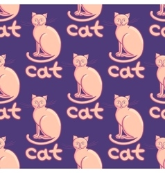 Cute flat cats seamless pattern with vector image