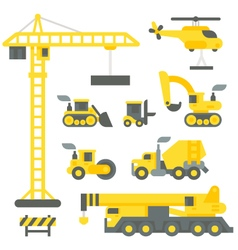 Flat design construction truck set vector image