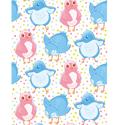 seamless pattern with cute blue and pink little vector image