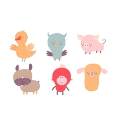 Sleepy creatures set vector