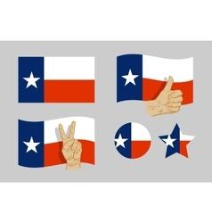 Texas flag icons set vector image