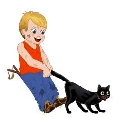Children play outdoors hoodlum cheerful little vector image vector image