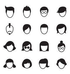 hair style icons set vector image vector image
