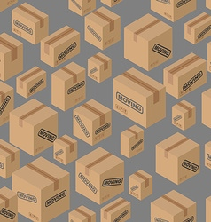 Moving seamless pattern Lot of cardboard boxes vector image vector image