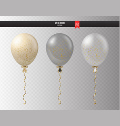 realistic transparent helium set of balloons with vector image
