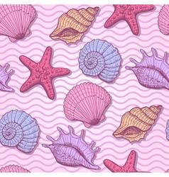 Sea shells hand drawn seamless pattern vector image vector image
