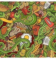 Seamless doodles abstract fast food pattern vector image vector image