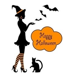 silhouette of a witch on Halloween vector image vector image