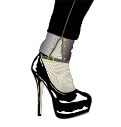 A woman with sensual shoe and fishnet stockings vector image vector image