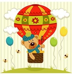 bear flies on air balloon vector image vector image