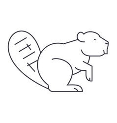 beaver line icon sign on vector image vector image