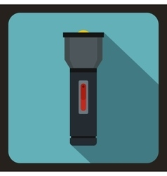 Black flashlight icon flat style vector