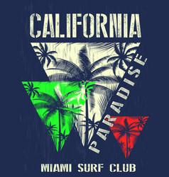 california miami summer t shirt graphic design vector image vector image
