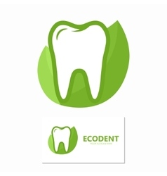 dental logo with green leaves symbol vector image vector image