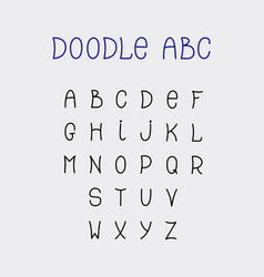 doodle abc lettering hand-drawn fonts isolated on vector image