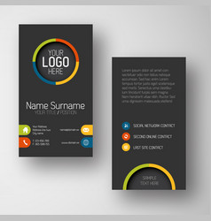 modern dark vertical business card template with vector image vector image