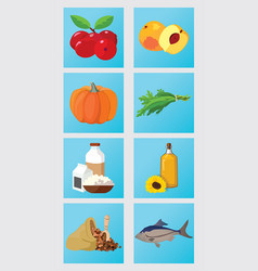 peach groats pumpkin cranberries dairy vector image vector image