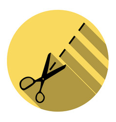 scissors sign flat black vector image