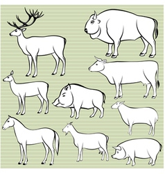 Set of monochrome wild and domestic animals for de vector image vector image