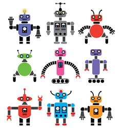 set of robots vector image vector image