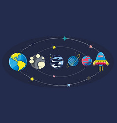 solar system in the galaxy space and rocket vector image vector image
