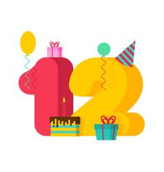 12 year greeting card birthday 12th anniversary vector