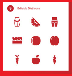 9 diet icons vector