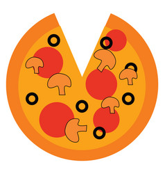 a slice of pizza with toppings or color vector image