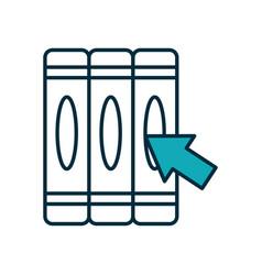 Academic books with download arrow icon half line vector