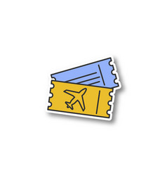 Airplane tickets patch vector