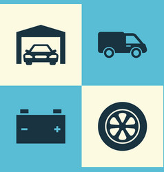 Auto icons set collection of accumulator wheel vector