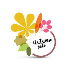 autumn minimalist sale label with leaves vector image