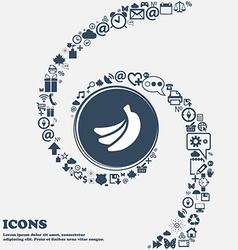 banana icon in the center Around the many vector image
