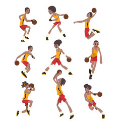 Basketball player set athletes in uniform playing vector