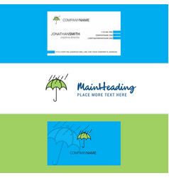 beautiful raining and umbrella logo and business vector image