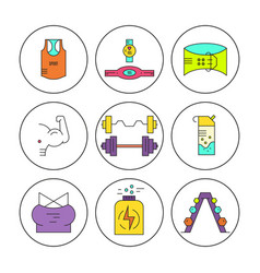 Bodybuilding icons collection vector