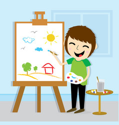boy artist drawing cute cartoon design vector image
