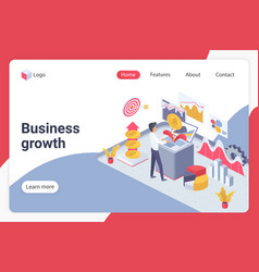 Business growth isometric landing page vector