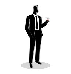 businessman in formal suit holding a glass wine vector image