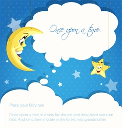 Card with moon and stars background for your tales vector image
