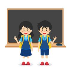 Cartoon children back to school background vector