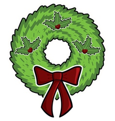 cartoon christmas wreath vector image